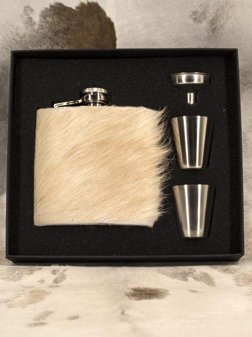 6oz Cowhide Wrapped Flask Set Long Hair