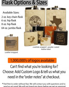 Texas Roots 64oz Jumbo Cowhide Wrapped Flask