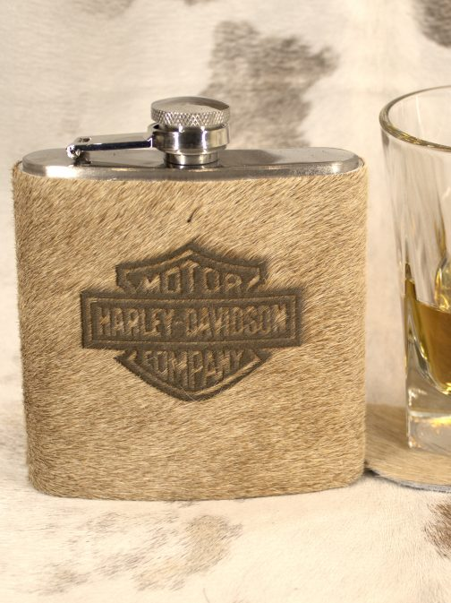 Harley Davidson Cowhide Wrapped Flask