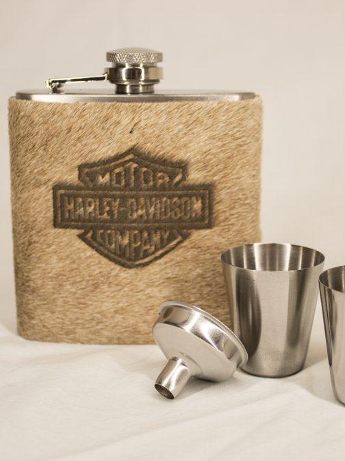 Harley Davidson Cowhide Labeled Flask Set