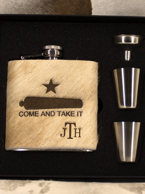 6oz Cowhide Wrapped Flask Set
