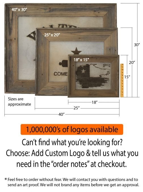 Branded Cowhide options and sizes