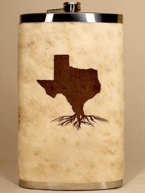 Texas Roots 32oz Jumbo Cowhide Wrapped Flask