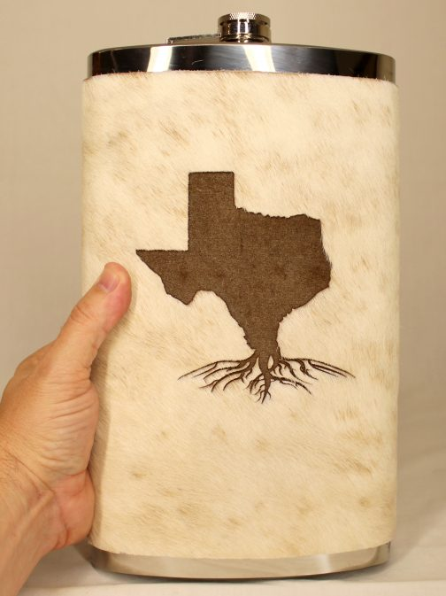 Texas Roots 32oz Jumbo Cowhide Wrapped Flask