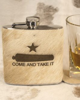 Come & Take It 6oz Cowhide Wrapped Flask