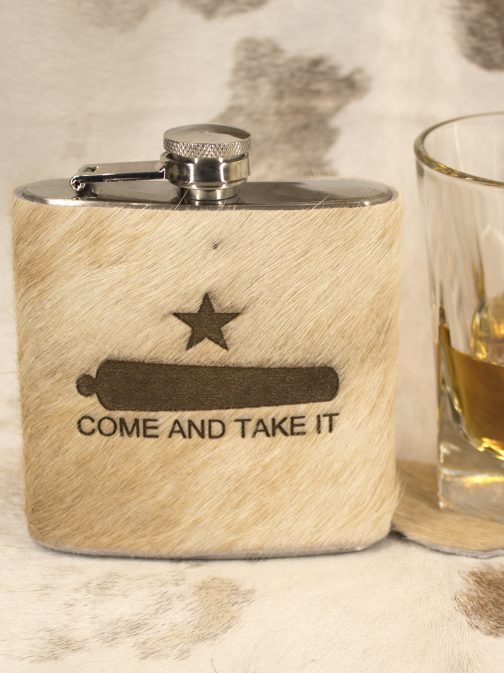 come and take it leather wrapped flask