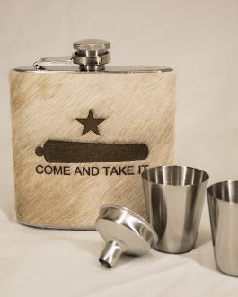 Come & Take It 6oz Cowhide Wrapped Flask