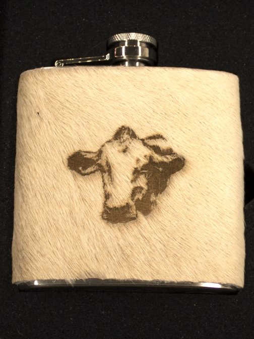 Cow Portrait Cowhide wrapped 6oz Flask