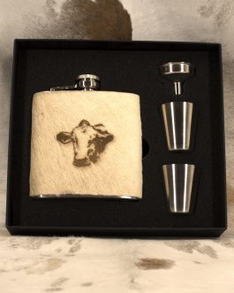Cow Portrait Cowhide Wrapped Flask 6oz