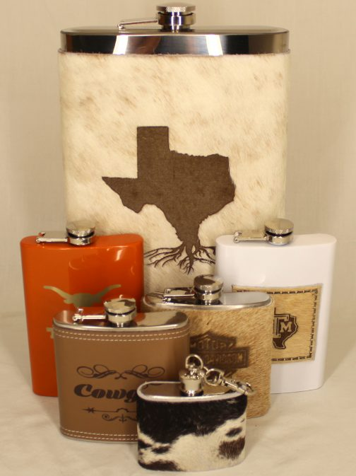 Texas Roots 32oz Jumbo Cowhide Wrapped Flask Example
