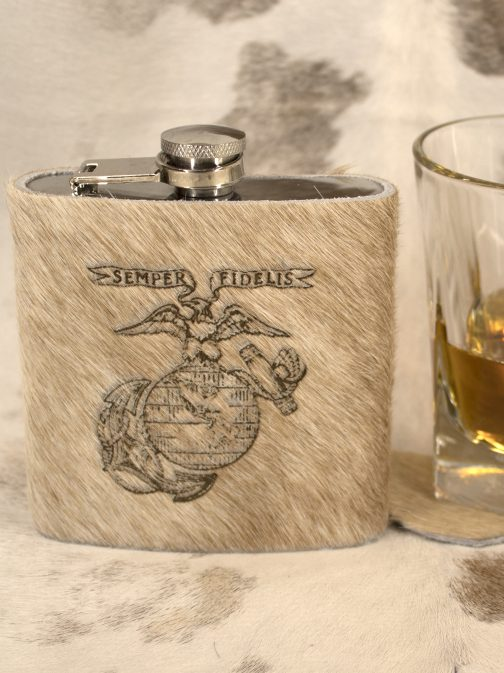 Marine Corp Cowhide Wrapped Flask