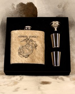US Marine Corp 6oz Cowhide Wrapped Flask