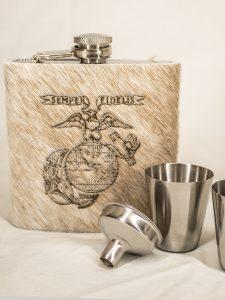 Branded cowhide flasks