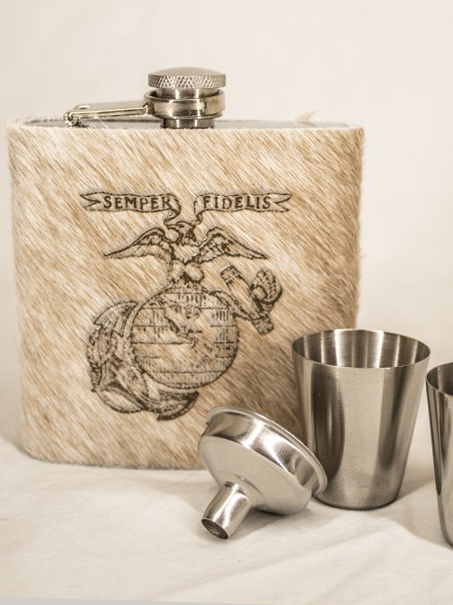 Marine Corp Cowhide Wrapped Flask Set